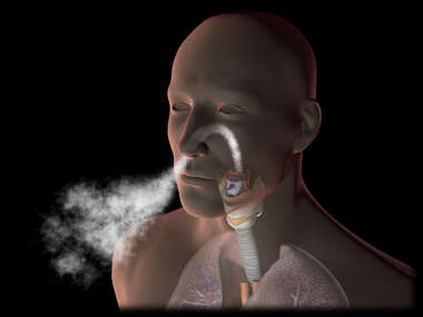 Exhalation: male figure breathing